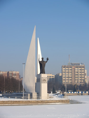 KALININGRAD, RUSSIA - FEBRUARY 16, 2012: Monuments to Nicholas The Wonderworker and the died fishermen. Russian text Nicholas The Wonderworker Редакционное