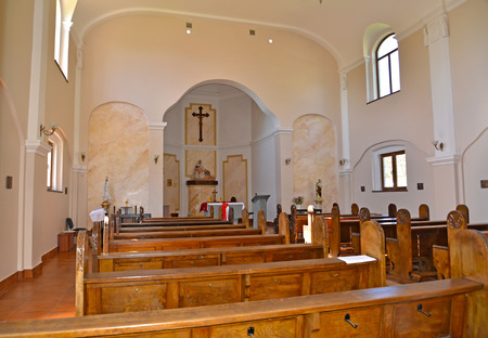 Interior of Roman Catholic parish of the Grieving Mother of God. Znamensk, Kaliningrad region Editorial