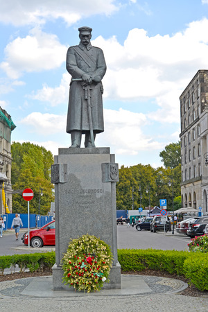 WARSAW, POLAND - AUGUST 23, 2014: A view of a monument to the marshal Józef Pilsudsky at Pilsudsky Square