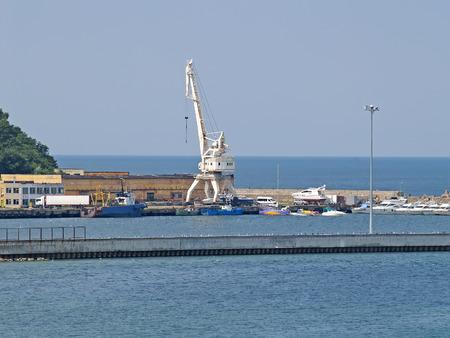 Type on the sea fish port. City Pioneer, Kaliningrad region Stock Photo