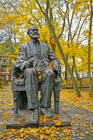 physiologist: SVETLOGORSK, RUSSIA - OCTOBER 26, 2016: A monument to the academician I. P. Pavlov in autumn day