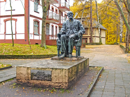 SVETLOGORSK, RUSSIA - NOVEMBER, 07 2010: Monument to the academician I. P. Pavlov in the autumn afternoon Editorial