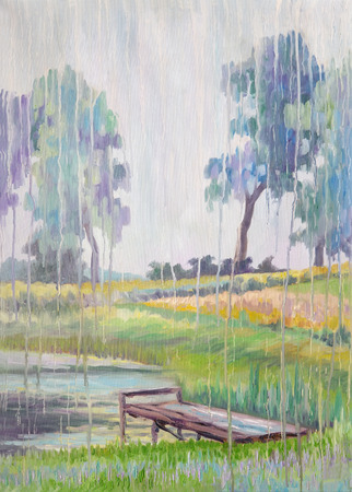 Picture Rain Crying. Canvas, oil