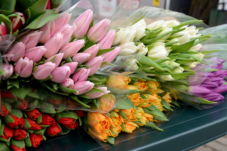 trade off: Armfuls of tulips lie on a counter for sale Stock Photo