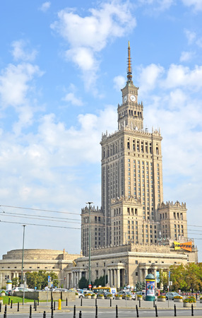 WARSAW, POLAND - AUGUST 23, 2014: A type on Palace of culture and sciences Editorial