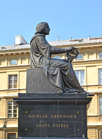 WARSAW, POLAND - AUGUST 23, 2014: Monument to Nicolaus Copernicus, side view
