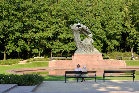 WARSAW, POLAND - AUGUST 23, 2014: A monument to Frederic Chopin in the Lazenki park Editorial