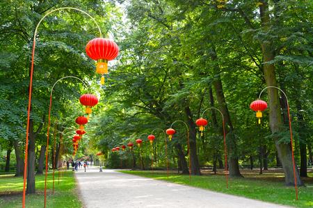 Chinese  Avenue in the Lazenki park. Warsaw, Poland Stock Photo