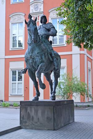Monument to the condottieri Bartolomeo Colleoni before the building of Academy of fine arts. Warsaw, Poland