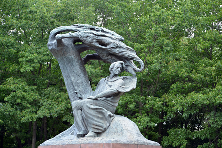 Monument to Frederic Chopin in the Lazenki park, a close up. Warsaw, Poland
