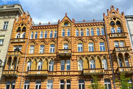 The historical building on Uyazdovskaya Avenue Street. Warsaw, Poland