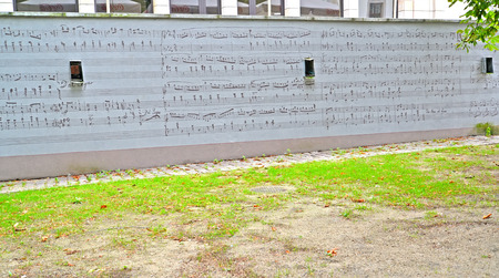frederic chopin: WARSAW, POLAND - AUGUST 27, 2014: A wall with a musical notation of the work of Frederic Chopin