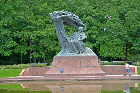WARSAW, POLAND - AUGUST 23, 2014: View of a monument to Frederic Chopin in the summer