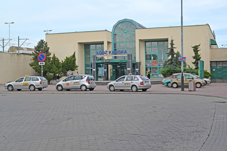 LODZ, POLAND - AUGUST 27, 2014: View of the railway station of the Lodz-Kalisky station. Polish text Lodz-Kalisky Editorial
