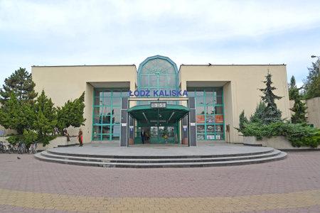LODZ, POLAND - AUGUST 27, 2014: Railway station of the Lodz-Kalisky station. Polish text Lodz-Kalisky Editorial