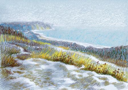 Picture Winter Dunes. Paper, pastel