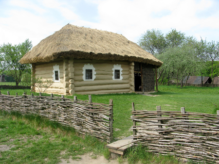 Old country log hut, Ukraine Stock Photo
