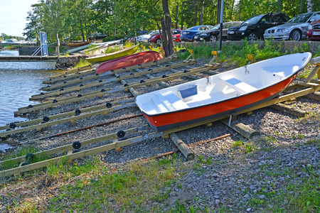 KOTKA, FINLAND - JULY 12, 2014: Slip for descent of boats to the gulf Sapokka Editorial