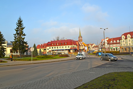 KENTShIN, POLAND - JANUARY 02, 2014: View of Pawel John II Square and Vladislav Sikorsky Street