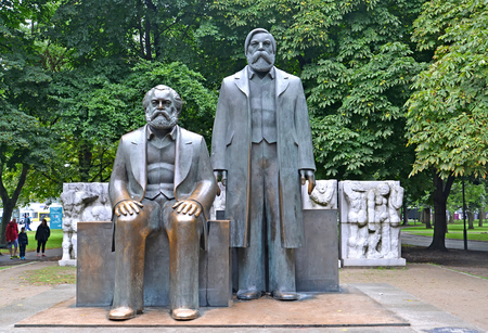 BERLIN, GERMANY - AUGUST 12, 2017: Marx and Engelss forum in the park