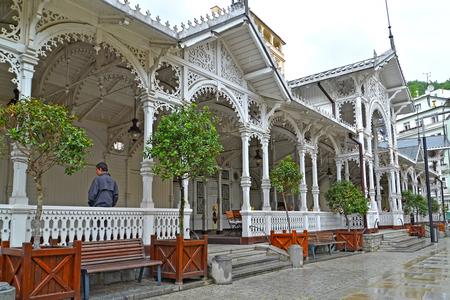 KARLOVY VARY, CZECH REPUBLIC - MAY 27, 2014: A market wooden colonnade in rainy day