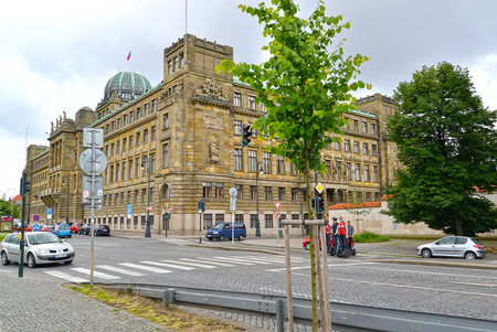 PRAGUE, CZECH REPUBLIC - MAY 28, 2014: View of the building of the Ministry of Industry and Trade