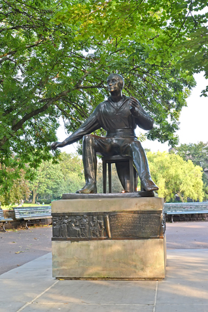 BERLIN, GERMANY - AUGUST 12, 2017: A monument to the poet Heinrich Heine in the National Fridrikhskhayn park