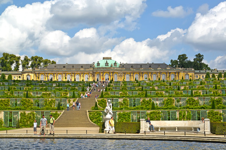 POTSDAM, GERMANY - AUGUST 14, 2017: Grape terraces before Frederick the Greats palace in the Sanssousi park
