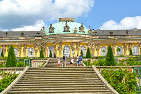 POTSDAM, GERMANY - AUGUST 14, 2017: A fragment of the palace of Frederick the Great in the Sanssousi park