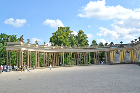 POTSDAM, GERMANY - AUGUST 14, 2017: A wing of a colonnade of the palace of Frederick the Great in the Sanssousi park Editorial