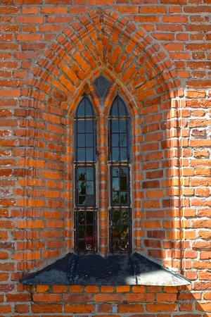 Lancet window in a Catholic church of Saint Catherine of Alexandria. Braniewo, Poland