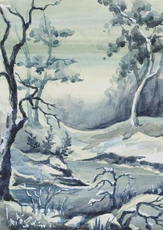 Picture Winter Landscape. Paper, watercolor