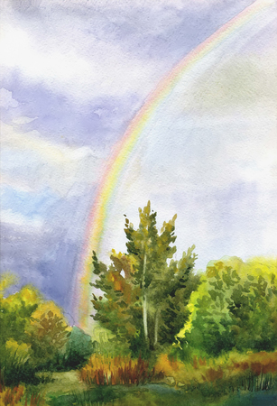 Picture Rainbow in the Sky. Paper, watercolor Stock fotó