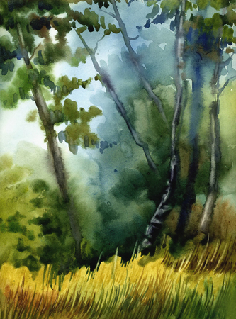 Picture Foggy Wood. Paper, watercolor