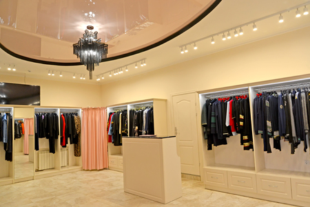 Interior of the trading floor in womens clothing shop