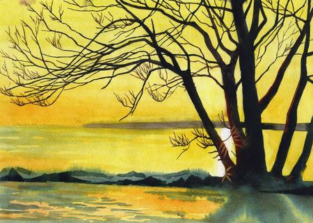 Watercolor drawing At Sunset