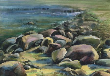 Watercolor drawing Stones Ashore
