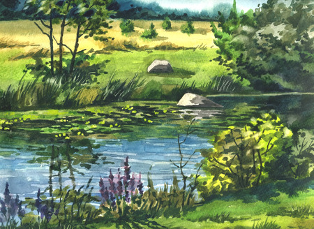 Picture In the Summer at the River. Paper, watercolor