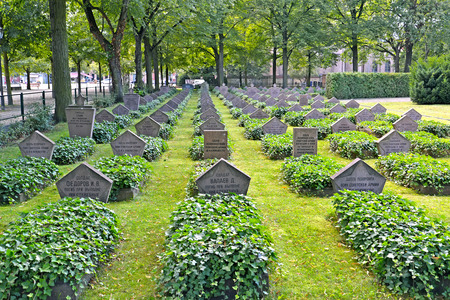 POTSDAM, GERMANY - AUGUST 14, 2017: The Soviet military burial at Basseyn-plats Square