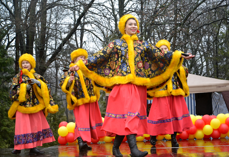 KALININGRAD, RUSSIA - FEBRUARY 26, 2017: Performance of youth Russian national folklore ensemble
