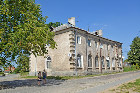 ZHELEZNODOROZHNY, RUSSIA - AUGUST 19, 2015: The old apartment house on Kommunisticheskaya Street