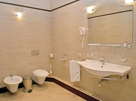 Bathroom interior in beige tones