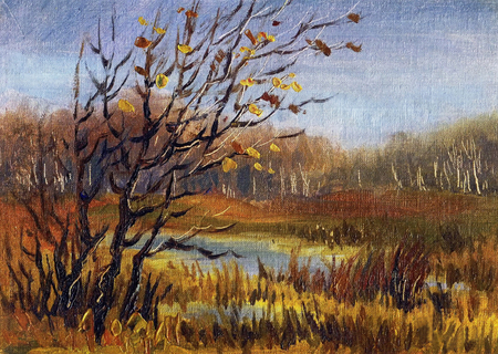 Picture Late Fall. Canvas, oil