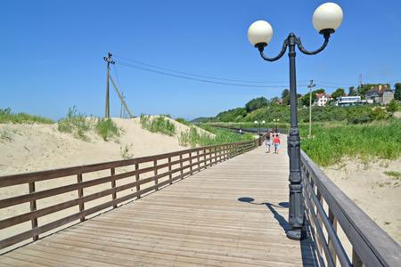 Wooden promenade in the settlement Amber, the Kaliningrad region