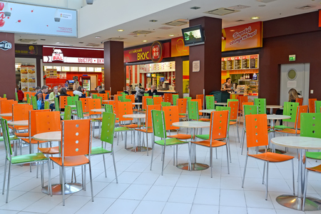 KALININGRAD, RUSSIA - MARCH 19, 2018: Cafe of fast food in the building of shopping center