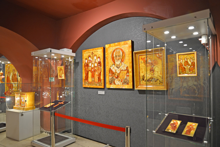 KALININGRAD, RUSSIA - MARCH 28, 2018: Amber icons in an exposition of the museum of Amber Sajtókép