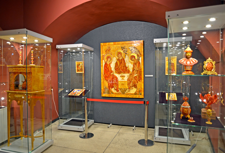 KALININGRAD, RUSSIA - MARCH 28, 2018: An amber icon Trinity in an exposition of the museum of Amber Sajtókép