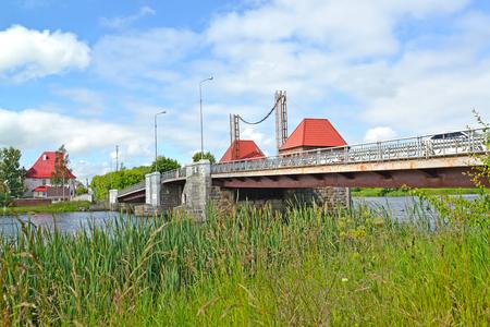 Eagle movable bridge in the summer afternoon. Polessk, Kaliningrad region