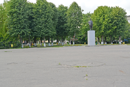 POLESSK, RUSSIA - JULY 01, 2015: The central square with a monument to V.I. Lenin