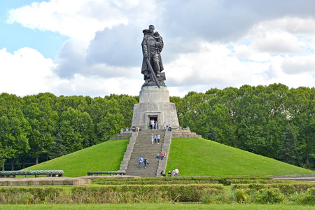BERLIN, GERMANY - AUGUST 13, 2017: View of a monument to the Soldier liberator. Treptov-park